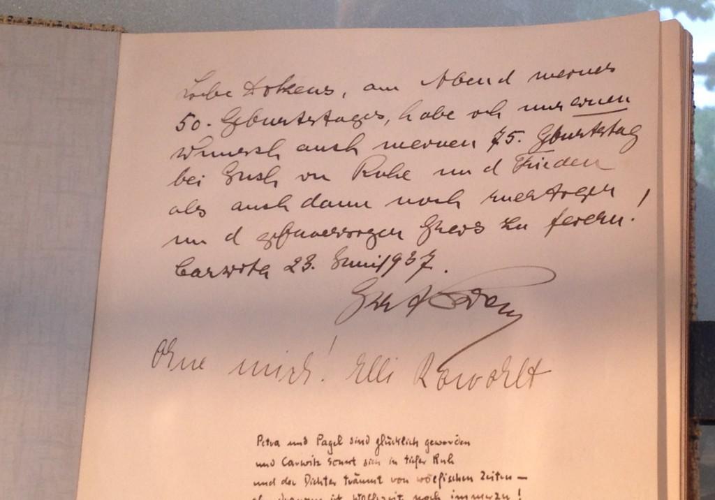 Eintrag Ernst Rohwolts im Gästebuch